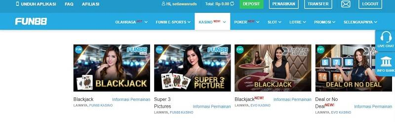 Blackjack Casino Fun88