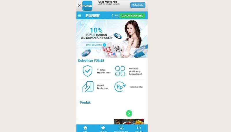 Keindahan Situs Wap dari Bandar Judi Online Fun88